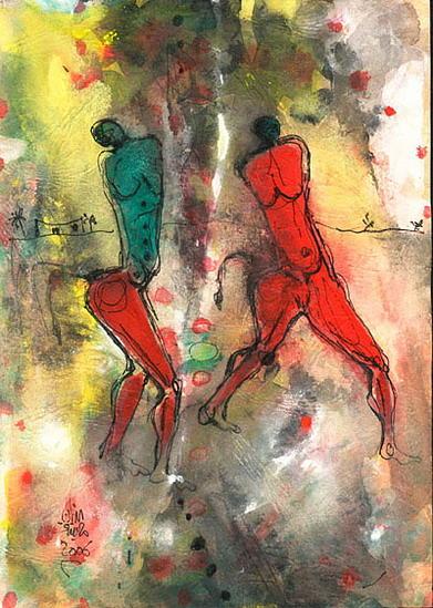 Rock Drawing - Dancing by Adnan Meatek