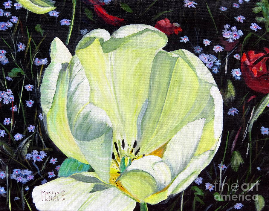 Tulip Painting - Dancing Alone by Marilyn  McNish
