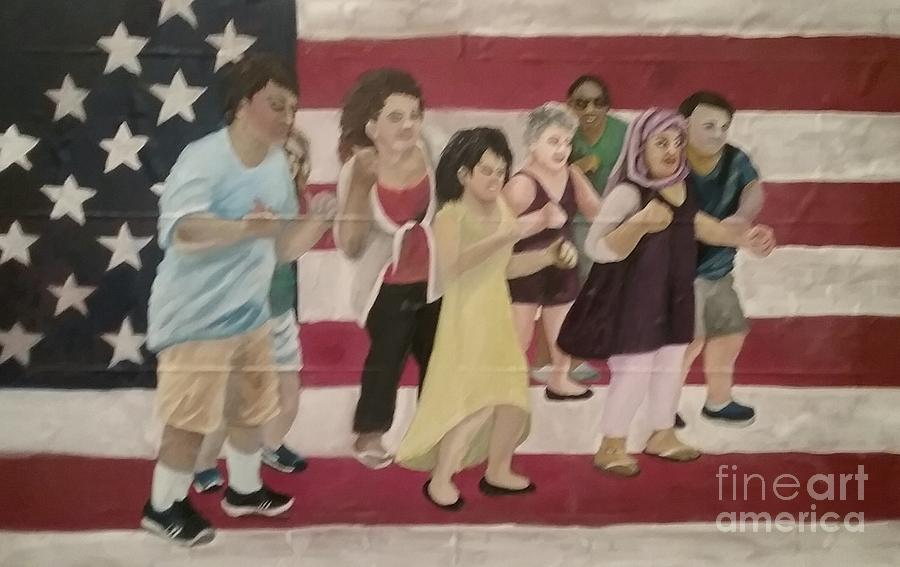 Flag Painting - Dancing Americans by Saundra Johnson