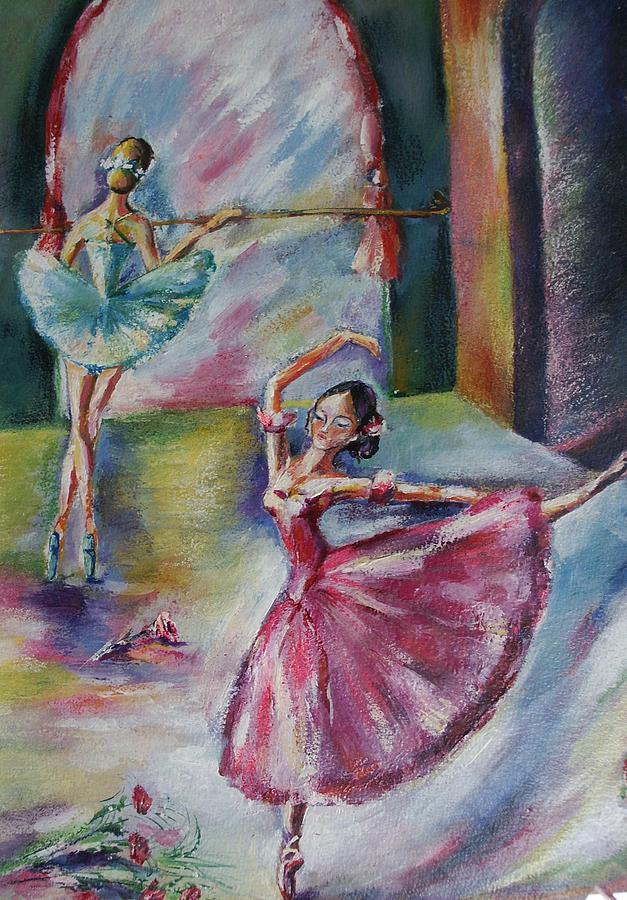 Ballerinas Painting - Dancing Ballerinas by Khatuna Buzzell