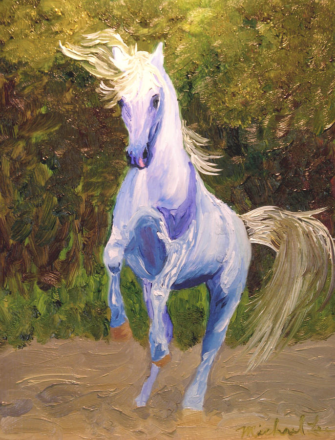 Horse Painting - Dancing Blue by Michael Lee