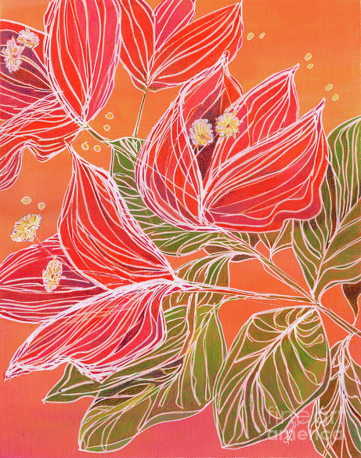 Tropical Painting - Dancing Bougainvillea by Amelia at Ameliaworks