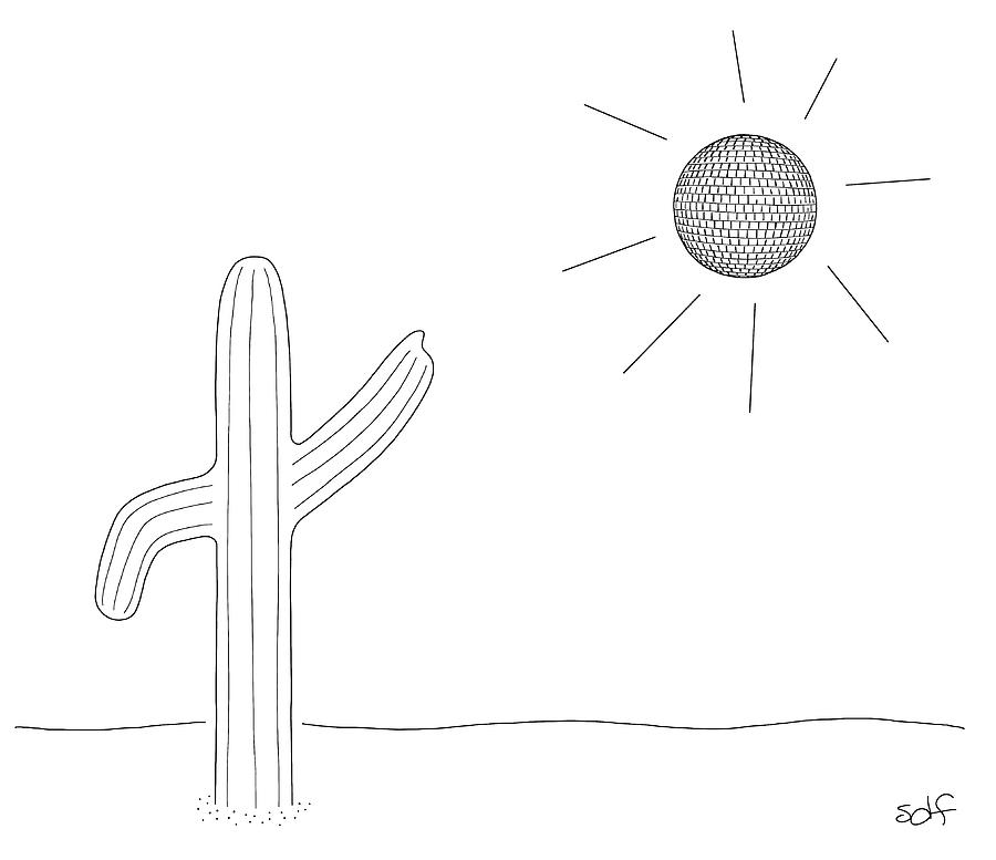 Dancing Cacti Drawing by Seth Fleishman
