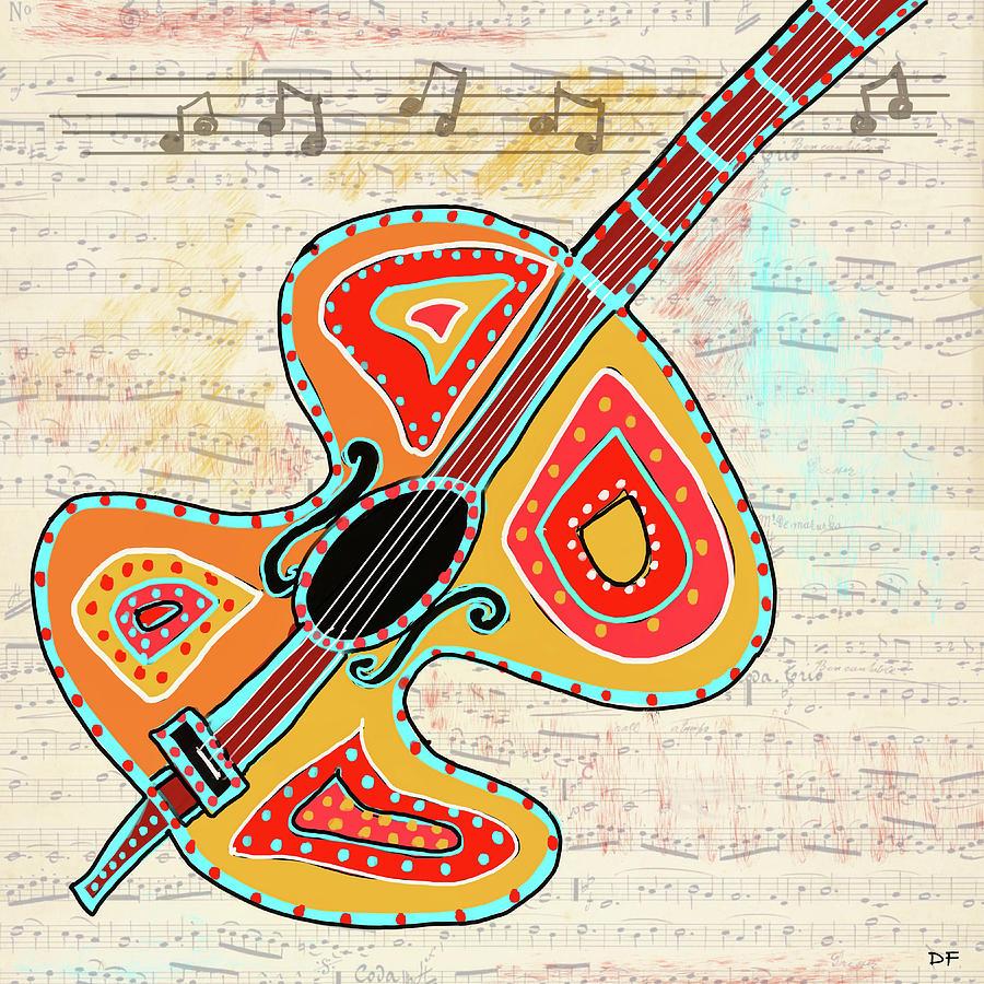 Digital Collage Mixed Media - Dancing Cello by Dora Ficher