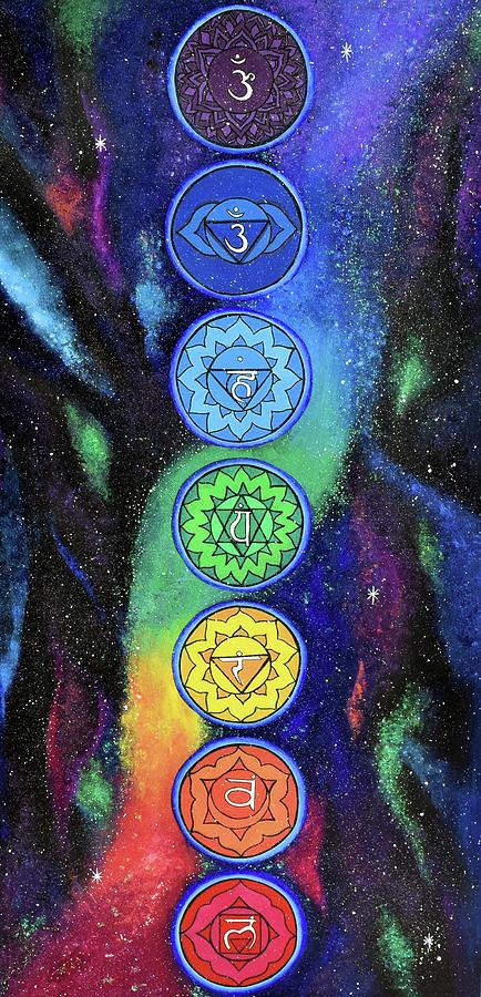 Dancing Chakras 7 Chakra Rainbow Healing Painting By