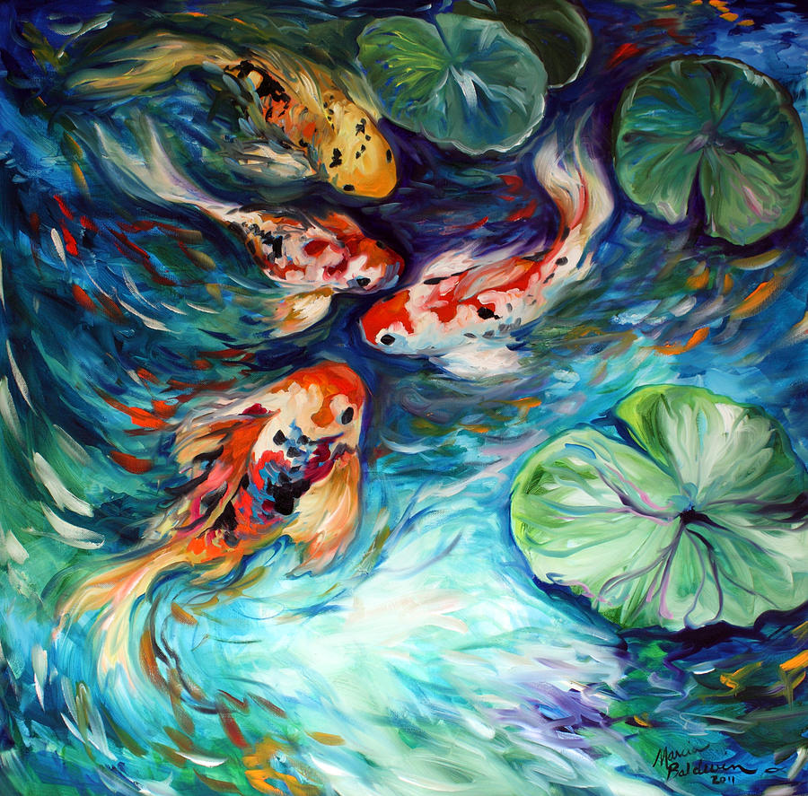 Dancing colors koi painting by marcia baldwin for Koi fish pond drawing