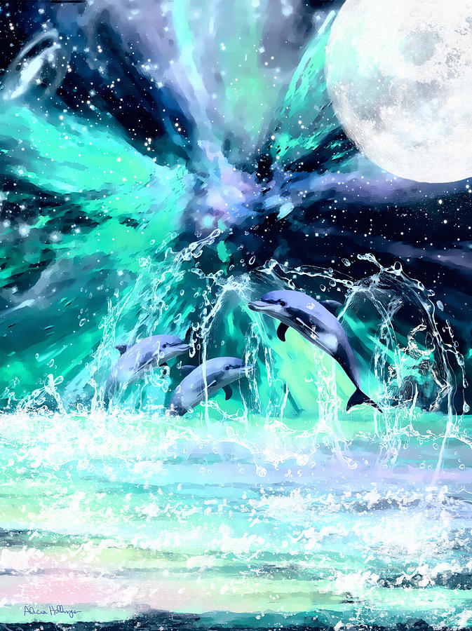 Dancing Dolphins Under the Moon by Alicia Hollinger