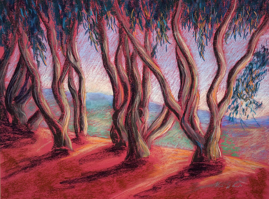 Eucalyptus Trees Painting - Dancing Eucalyptus by Karin  Leonard