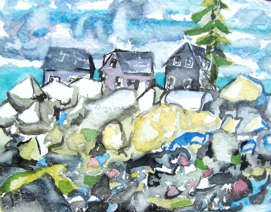 Dancing Fish Houses Painting by Patricia Bigelow