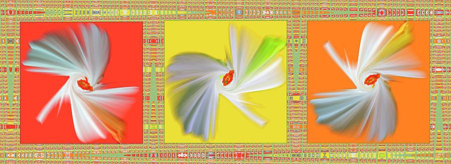 Abstract Digital Art - Dancing Flower Trio by Ben and Raisa Gertsberg