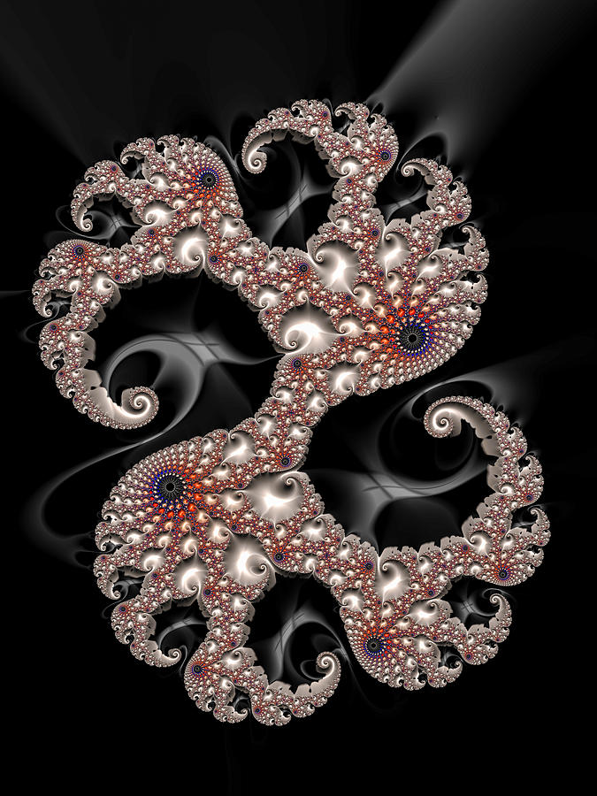 Fractal Digital Art - Dancing Fractal Spirals With Beautiful Colors by Matthias Hauser