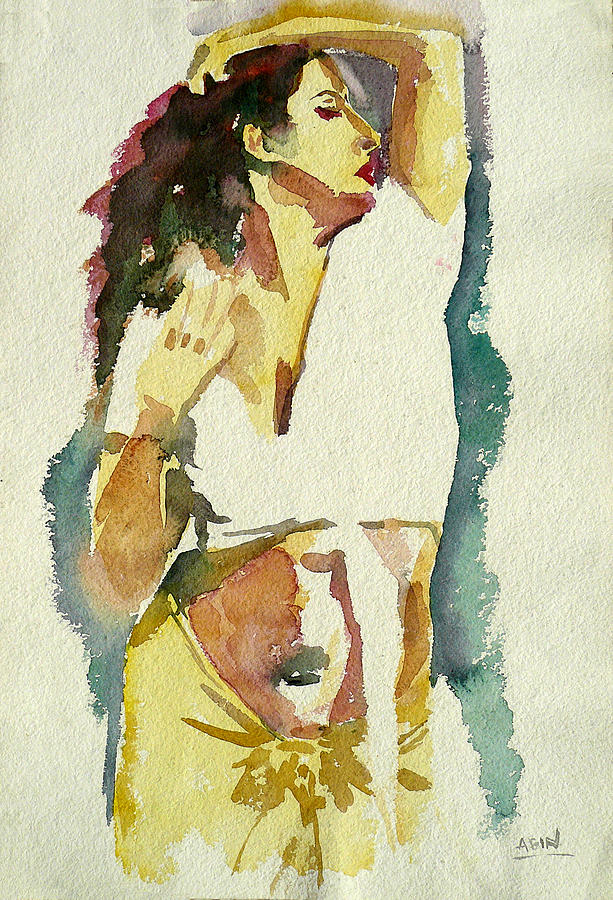 Portrait Painting - Dancing Girl by Abin Raj