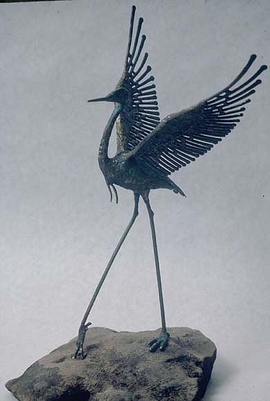 Heron Sculpture - Dancing Heron by Ric Larson
