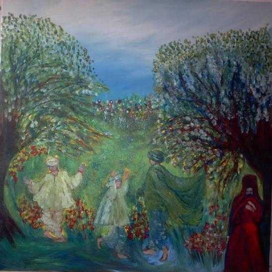Arabia Painting - Dancing In The Garden by Norah Joy Clydesdale