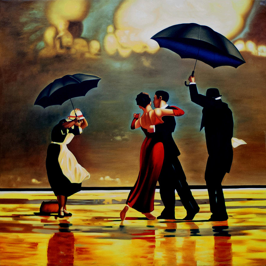 dancing in the rain painting by michael pancito. Black Bedroom Furniture Sets. Home Design Ideas
