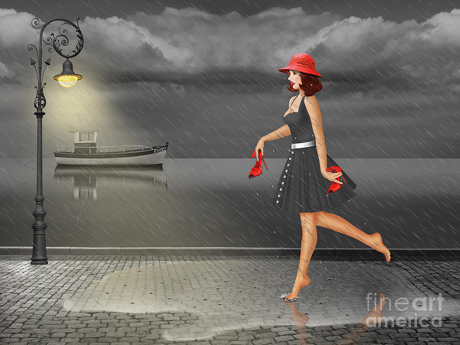 Legs Mixed Media - Dancing In The Rain by Monika Juengling