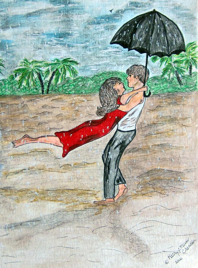 Dancing Painting - Dancing In The Rain On The Beach by Kathy Marrs Chandler