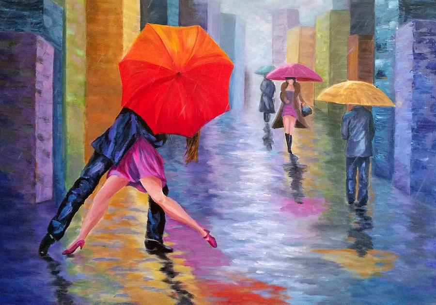 dancing in the rain painting by rosie sherman. Black Bedroom Furniture Sets. Home Design Ideas