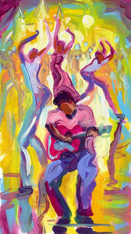Dancing Painting - Dancing In The Streets by Saundra Bolen Samuel