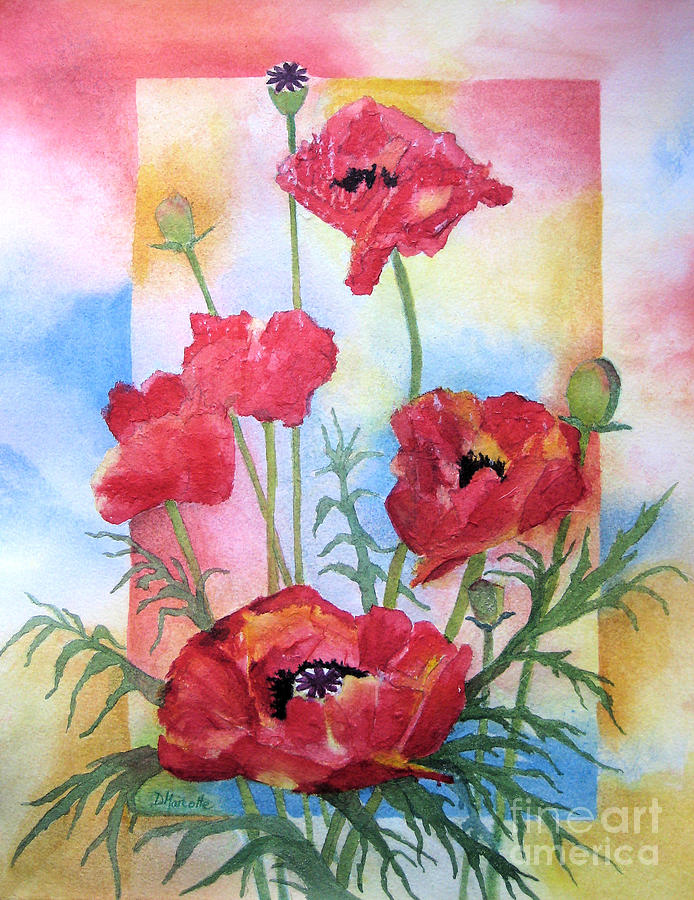 Poppy Painting - Dancing In The Wind by Diane Marcotte
