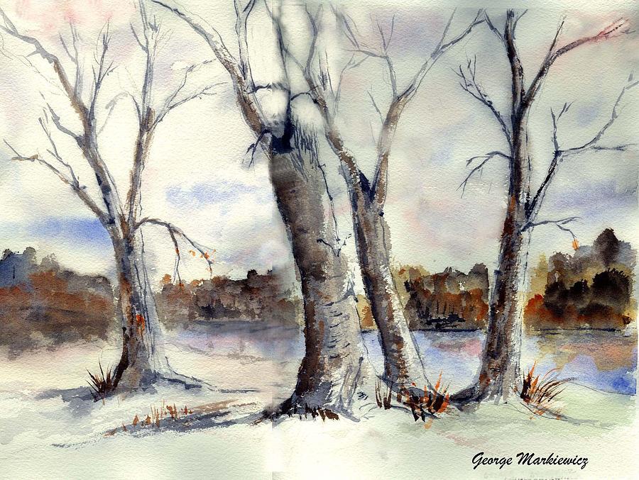 Landscape Print - Dancing In Winter by George Markiewicz