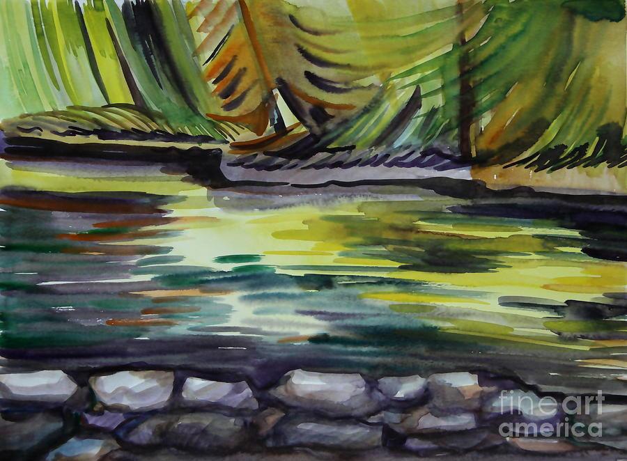 Watercolor Painting - Dancing Lake by Anna  Duyunova