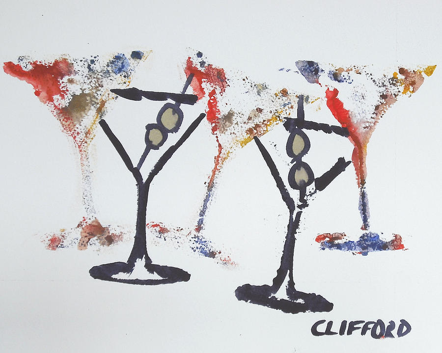 Alcohol Painting - Dancing Martinis by Cory Clifford