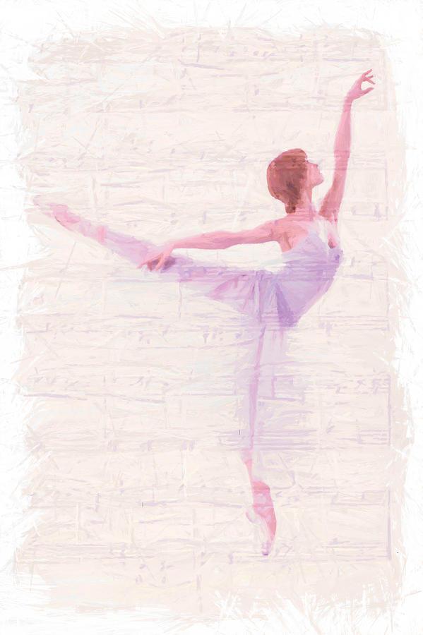 Ballet Dancer Dancing Melody Music Female Woman Girl Romance Romantic Ballerina Painting - Dancing Melody by Steve K