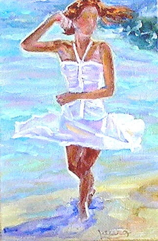Figure Painting - Dancing On The Beach by Laura Forst