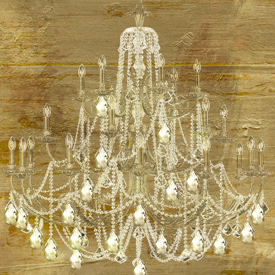 Lit chandelier gold painting by mindy sommers for Gold paintings on canvas