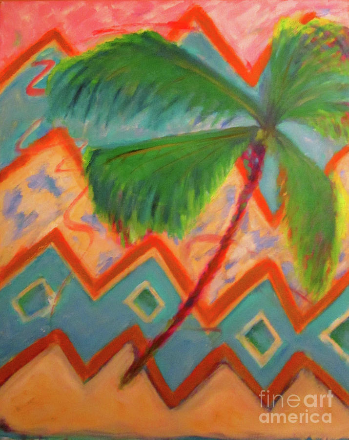 Palm Tree Painting - Dancing Palm by Karen Francis
