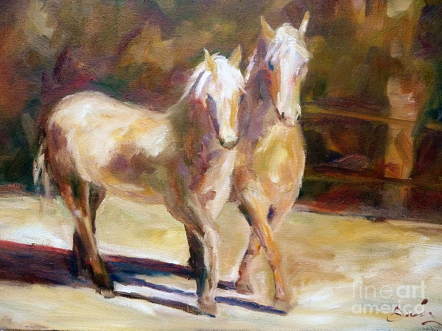Palomino Horse Painting - Dancing Palomino Horses by Xx X