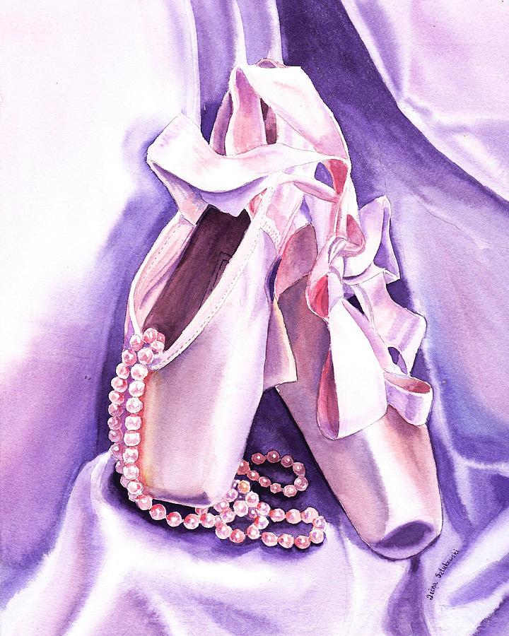 Ballet Painting - Dancing Pearls Ballet Slippers  by Irina Sztukowski