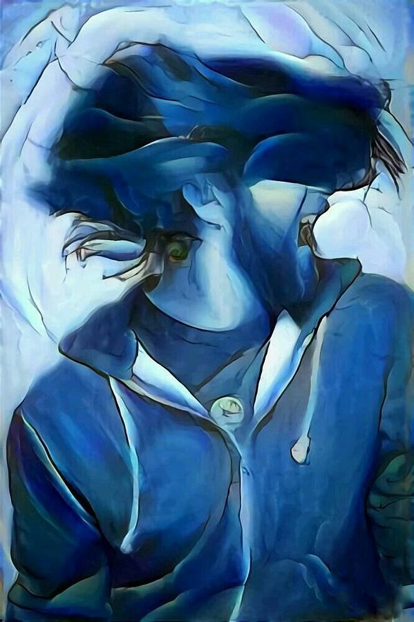 Dance Digital Art - Dancing Portrait Of Wild Male Hair In Blue by MendyZ