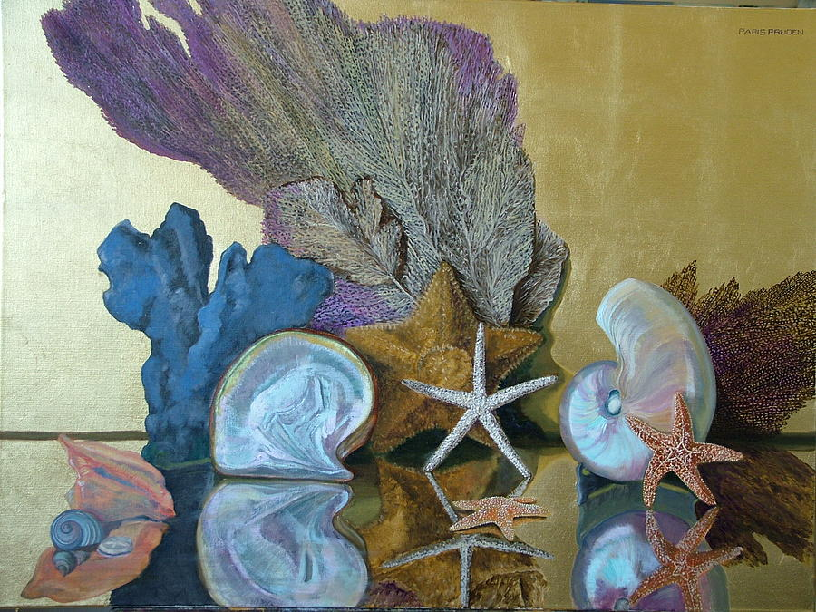 Still Life Painting - Dancing Sea Shells by Nancy Paris Pruden