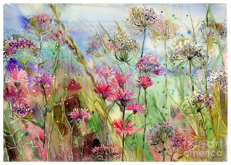Pink Painting - Dancing thistles by Suzann Sines