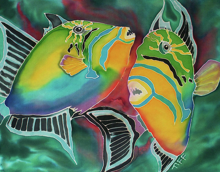Triggerfish Painting - Dancing Triggers by Tiff