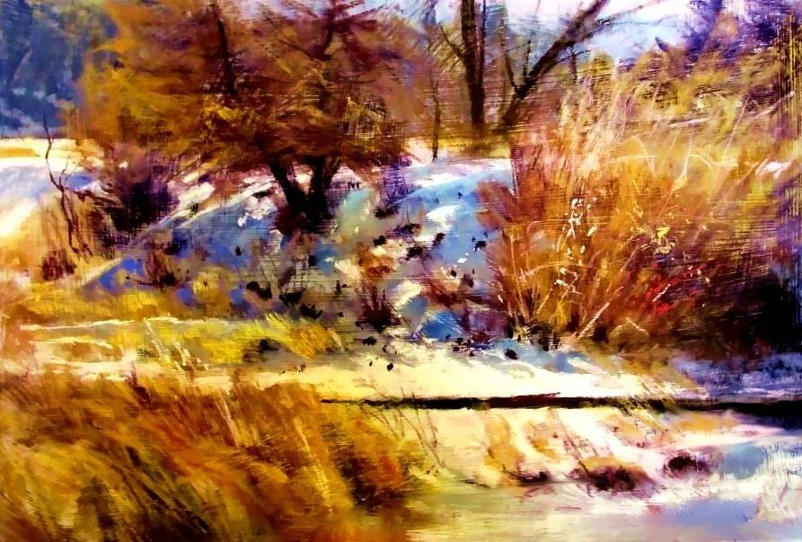 Dancing Winter Shadows Painting by Joseph Barani
