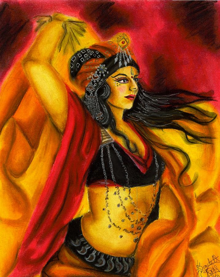 Belly Dancer Drawing - Dancing With Fire by Scarlett Royal