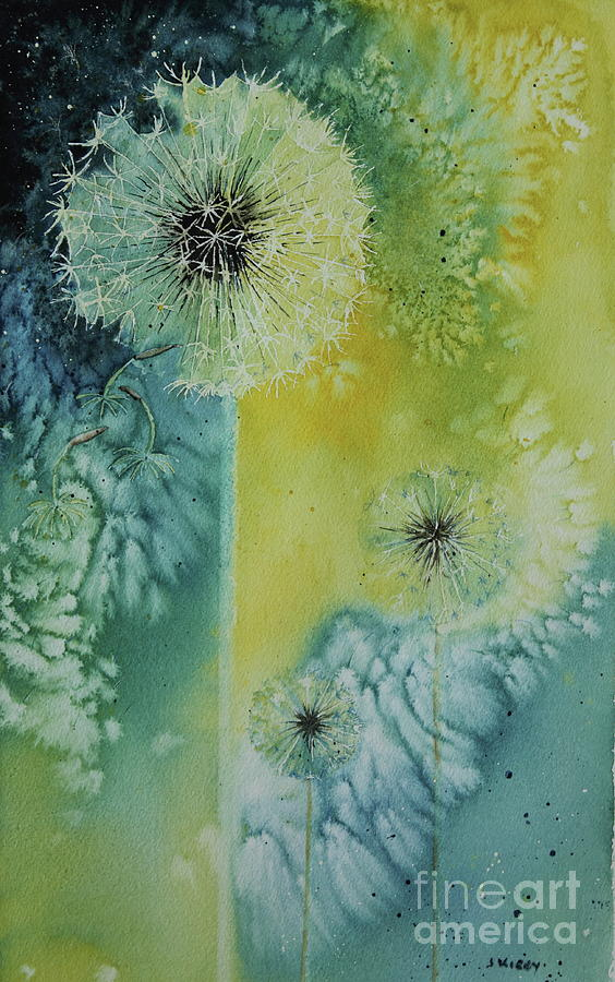 Plant Painting - Dandelion by Jackie Kirby