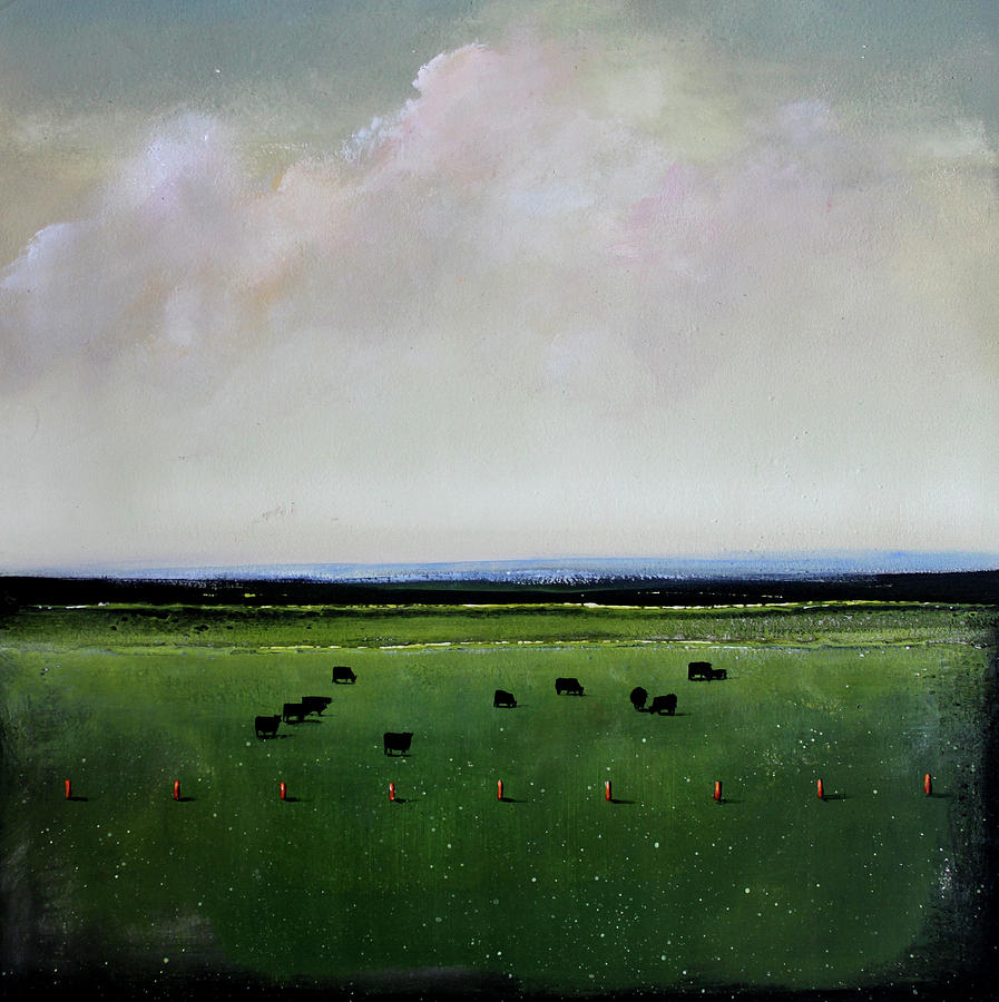 Cows Painting - Dandelion Pastures by Toni Grote