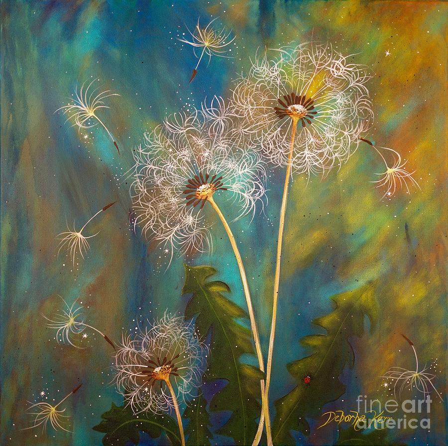 Dandelions Painting - Dandelion Wishes by Deborha Kerr