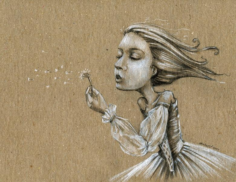 Girl Drawing - Dandelion Wishes by Michael Scholl