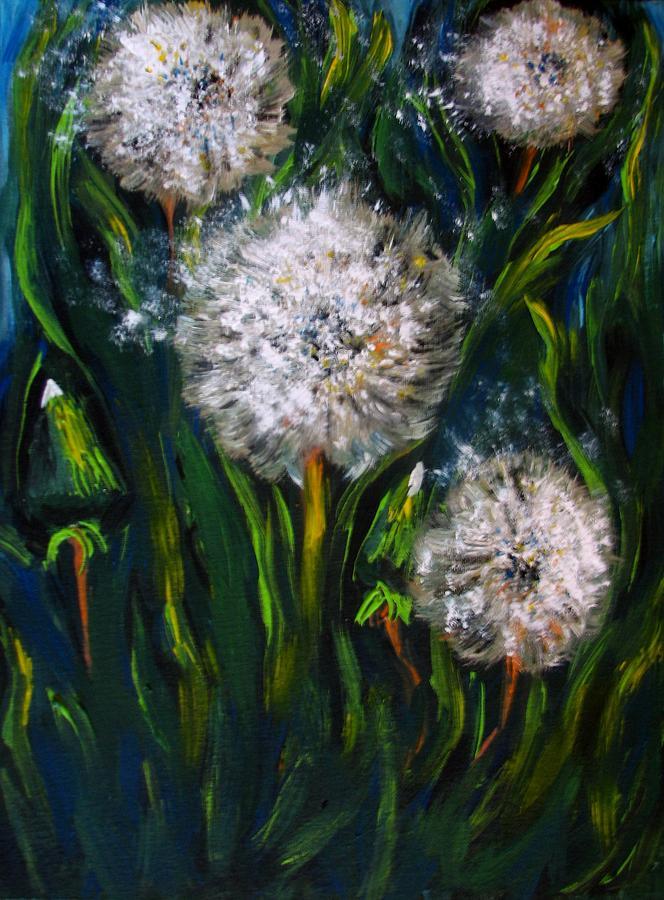 Dandelions Painting - Dandelions Acrylic Painting by Natalja Picugina