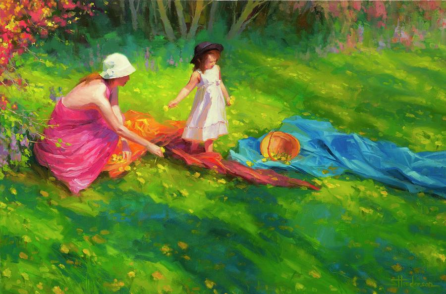 Country Painting - Dandelions by Steve Henderson
