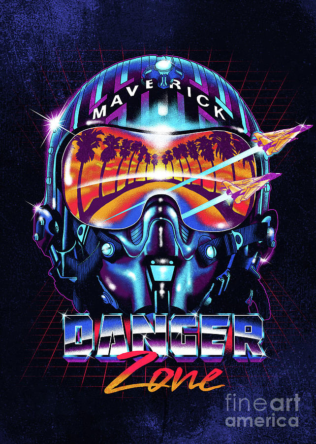 Helmet Digital Art - Danger Zone / Top Gun / Maverick / Pilot Helmet / Pop Culture / 1980s Movie / 80s by Zerobriant Designs