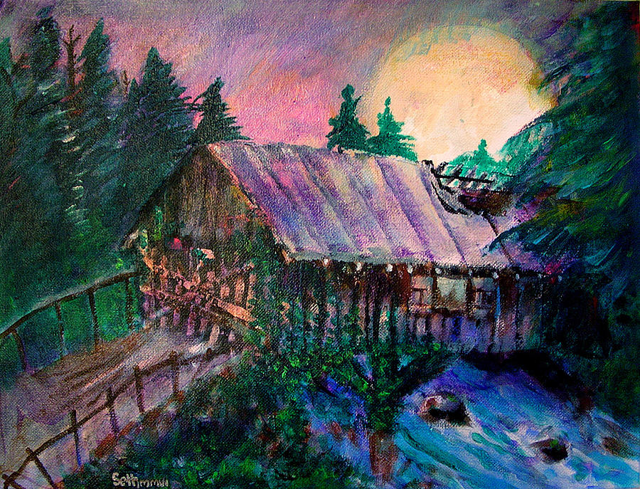 Dusk Painting - Dangerous Bridge by Seth Weaver