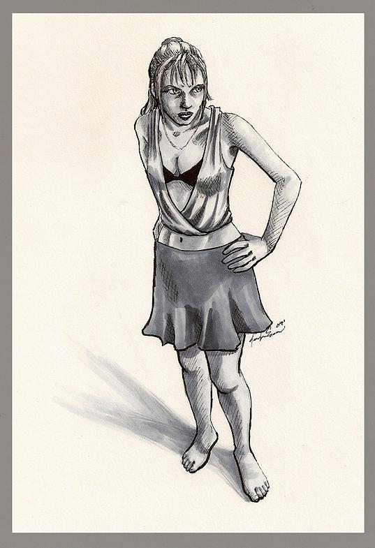 Dangerous Woman Drawing by Jennifer Evans