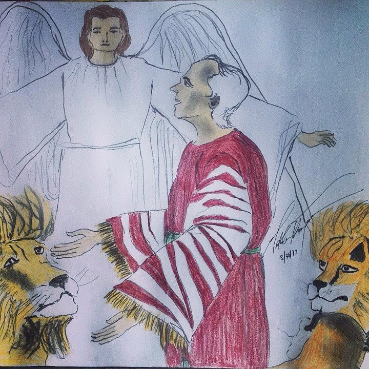 Daniel Drawing - Daniel And Lions Den by Love Art Wonders By God