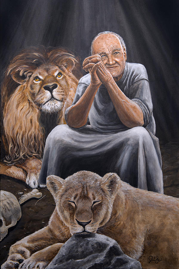 daniel painting daniel in lions den by joshua lind